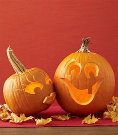 Pumpkin carving lovey-dovey. Save some of the rind from the male pumpkin's mouth to create his partner's 3D pout. Lightly scrape in lines for eyelashes, eyebrows and lips.