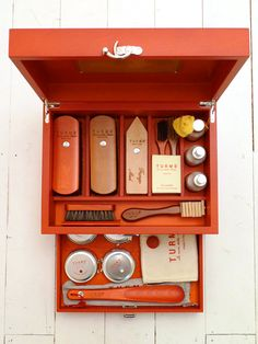 Turms Shoe Care Kit -my husband is obsessed with shining his shoes. i think it's adorable. he would love this kit.