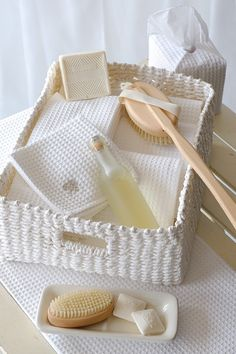 This is such a beautiful basket of home spa supplies, featuring waffle weave towels from Australia.  We offer similar towels at GildenTree.com.