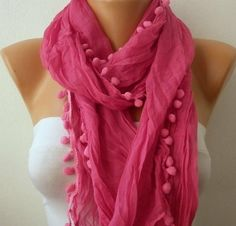 Hot Pink Women Shawl Scarf  Headband Necklace Cowl by fatwoman, $13.50 by robindu