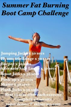 Get a Bikini Body with this Summer Fat Burning Boot Camp Challenge and you'll be proudly romping around the beach in no time! #beachbody #bikinibody #challenges #fitness #exercise #workouts #skinnyms