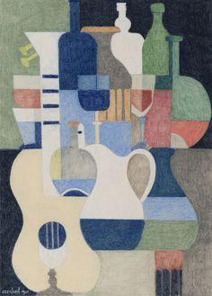 Nature morte au pichet et à la guitare Gouache, Saint Quentin, Catalogue Raisonne, Pastel, Le Corbusier, Postmodernism, Artist Names, Figurative Art, Art Boards