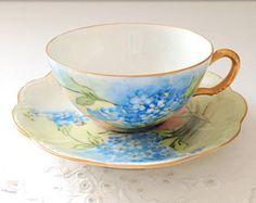 Antique Handpainted Fine Porcelain Haviland France Teacup and Saucer Tea Party - c. 1894 - 1931