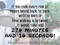 Check out our blog tomorrow for a recap of how we rode every ride at Disney World in 1 day! #TuesdayTrivia #MouseInMotion #PutYourDreamsInMotion #DisneyWorld