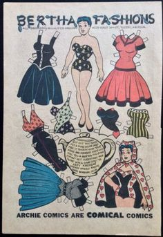 Paper Dolls as Fashion History Paper Dolls Clothing, Paper Dolls Book, Vintage Paper Dolls, Comic Book Paper, Comic Books, Blue Crafts, Paper Dolls Printable, House Drawing, Archie Comics