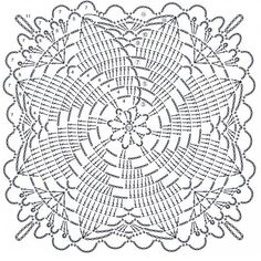 How to Crochet a Solid Granny Square Crochet Tablecloth Pattern, Crochet Doily Diagram, Crochet Bedspread, Crochet Square Patterns, Crochet Squares, Crochet Motif, Crochet Designs, Crochet Doilies, Knitting Patterns