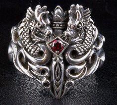 Garnet Medieval Dragon Ring