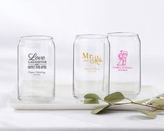 Personalized Wedding and Bridal Shower Themed 16oz. Beer Can Glass | My Wedding Favors