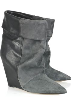 141cea75fb5 Light-gray suede and anthracite leather ankle boots with a wedge heel that  measures approximately 4 inches. Isabel Marant boots have a pointed toe