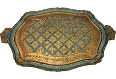 Large Florentine tray in gold w/ aque blue accents Made in Italy w/ artist # on back 23x15  $189 - SOLD