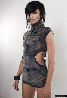 I have a stretchy denim pantsuit that would look better if I cut the sleeves off and 'distress' it some.
