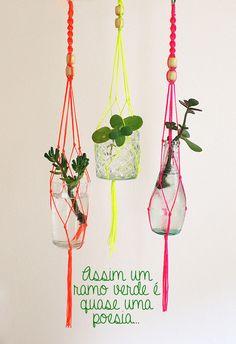 DIY macramê flores garrafa reciclagem