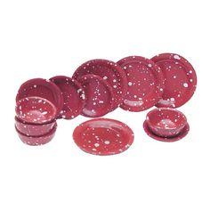 12-Pc. Red Spatterware Dish Set $4.76 painted metal