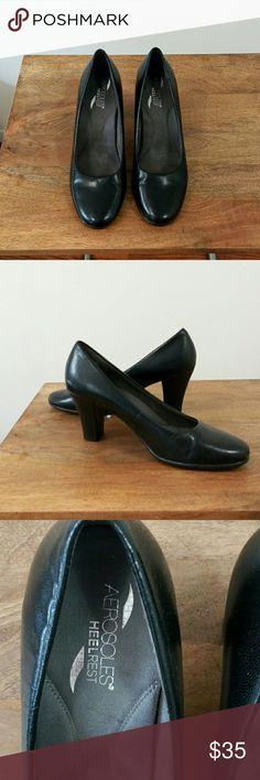 Black Leather Aerosoles Pumps Black Leather Pumps Size 9.5 The Inch Heels Aerosoles Shoes Heels
