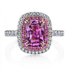 Omi Prive: Pink Sapphire and Diamond Ring, Style RC1400-PSCU-2.49