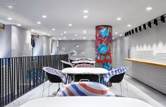 Inside Paola Navone's boutique for Dodo, Paris, colorful seating in the VIP room. Interior Design Magazine, Interior Design Kitchen, Rue Saint Honoré, Paola Navone, Small Room Bedroom, Small Rooms, Bedroom Ideas, Paris Design, House Layouts