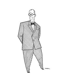"""dharbin:  LE CORBUSIER.   A """"Persons Of Interest"""" drawing. You can get your own here, as my schedule allows, and see all the ones thus far here. Short version is I'll draw any famous/widely recognizable figure, fictional or historical or just popular, just once."""