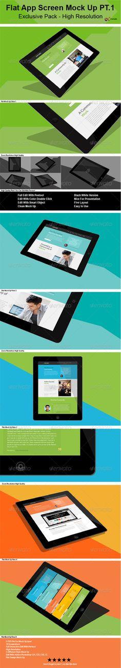 Flat App Screen Mock Up
