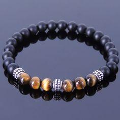 Mens Women Matte Black Onyx Tiger Eye Sterling Silver Bracelet 925 DIY-KAREN 371