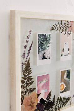 diy projects For The Home picture frames - Floral Picture Frame Unique Picture Frames, Picture Frame Crafts, Collage Picture Frames, Polaroid Pictures Display, Polaroid Display, Photo Frame Ideas, Framed Pictures, Polaroid Picture Frame, Homemade Picture Frames