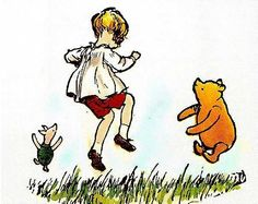 Coloured E. H. Shepherd Winnie the Pooh illustration