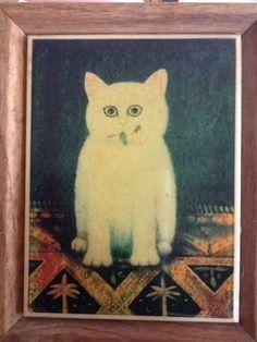 KIMBERLY-ENTERPRISES-OAK-FRAMED-CERAMIC-TILE-Cat-With-Rose-On-Rug