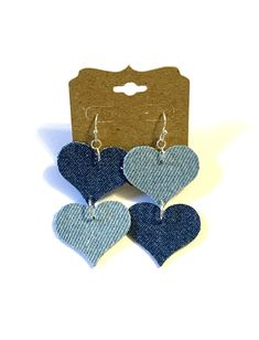 Excited to share this item from my #etsy shop: Blue jean denim fabric heart earrings mismatched boho hippie double sided lightweight love friendship casual unique women teen denim jewelry#blue#jean#denim#fabric#heart#earrings#mismatched#doublesided#lightweight#boho#hippie#love#friendship#denimjewelry#handmade#homemade#unique#women#teen Denim Earrings, Fabric Earrings, Big Earrings, Leaf Earrings, Teardrop Earrings, Hippie Love, Boho Hippie, Earrings Handmade, Handmade Jewelry