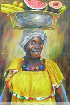 palenquera African Image, African American Art, Abstract Portrait Painting, African Artwork, Cuban Art, Caribbean Art, Black Art Pictures, Afro Art, Black Artists
