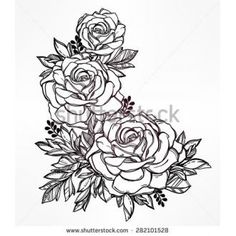 Vintage floral highly detailed hand drawn bouquet of flowers and ...