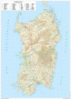 Sardinia Road Map - 1:250.000 scale  Carta stradale della Sardegna - Scala 1:250.000