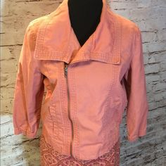 HURLEY COTTON LIGHTWEIGHT MOTO JACKET Hurley-Pink/Salmon-100% Cotton Jacket-Motorcycle Jacket-Spring/Summer/Beach  3/4 Length sleeves Pink/Salmon color Gathering at bottom of sleeves Cotton/Canvas woven fabric  Cool stitching details on elbows to resemble elbow patches  Asmyetrical zipper Embroidered Hurley H on the front Two pockets in the front. GENTLY USED Hurley Jackets & Coats Utility Jackets