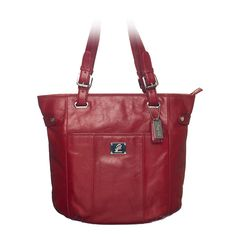 """Bella-Red Leather Bag Beautiful Bella is crafted in rich leather, making it the perfect daily statement bag and suitable for every occasion.  •  Genuine leather •  15"""" L, 13"""" H, 4.25"""" W •  Handles with 10.25"""" drop •  Exterior pocket fits any Grace Adele Clutch"""