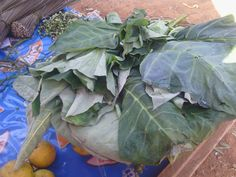 Kontomire \(cocoyam leaves used to prepare most Ghanaian dishes like stew ans buebun and fufu) on display at Sunyani Wednesday market in the Brong Ahafo region of Ghana
