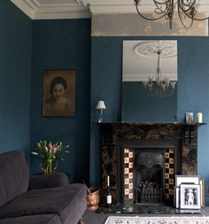 Blue living room for a winter's day. from Design*Sponge Cobalt Blue Bedrooms, Blue Rooms, Blue Room Decor, Dining Room Blue, Blue Sofa Design, Royal Blue Walls, Blue Accent Walls, Teal Walls, Dark Walls