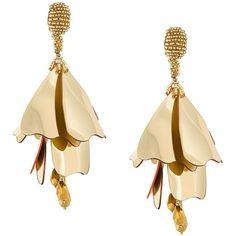 Oscar de la Renta petal effect earrings (£340) ❤ liked on Polyvore featuring jewelry, earrings, metallic, earring jewelry, oscar de la renta, metallic jewelry, oscar de la renta earrings and gold tone earrings