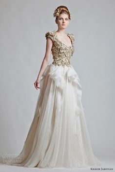 krikor jabotian bridal fall 2012 2013 wedding dresses  scoop neck gown with and heavily embellished bodice with structured cap sleeves