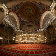 Interior of the Süleymaniye Camii (Mosque) by night, Istanbul, Turkey Islamic Architecture, Beautiful Architecture, Beautiful Buildings, Art And Architecture, Hagia Sophia, Beautiful Mosques, Most Beautiful Cities, Religion, Blue Mosque