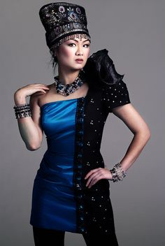 Blue on black. Dress from couture. by DeusXFlorida, via Flickr