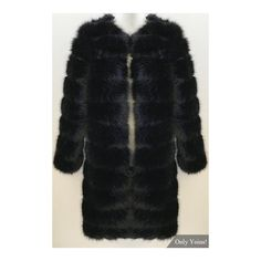 Black Fashion Long Sleeves Open Front Fur Outerwear (8,040 MKD) ❤ liked on Polyvore featuring outerwear