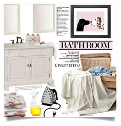 """""""Bathroom"""" by dolly-valkyrie ❤ liked on Polyvore featuring interior, interiors, interior design, home, home decor, interior decorating, Bellaterra Home, Calvin Klein, Chinese Laundry and bathroom"""