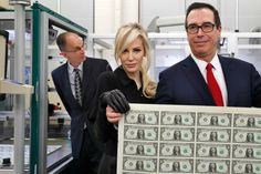 Treasury Secretary Steven Mnuchin and his wife, Louise Linton, unveiled the first dollar bills bearing his signature. The internet having a field day. Treasury Secretary Steven Mnuchin and his wife, Louise Linton, caused a stir on the interne Donald Trump, Steven Mnuchin, Trump Taxes, Photos Of The Week, The Life, Way To Make Money, The Past, Politics, Poses