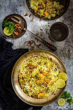 A rice dish fit for a king, Hariyali Jheenga Biryani or Prawn Biryani is rich, intensely flavorful and very elaborate dish made in green masala.