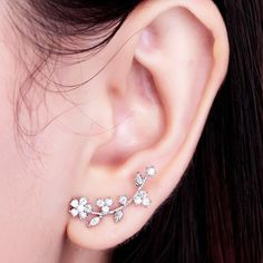 Ear Sweep Wrap - Cuff Earring with CZ Crystal - Stunning Silver - Flower