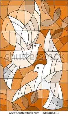 Imagens, fotos stock e vetores similares de Illustration in stained glass style with abstract birds ,Sepia,tone brown, - 607934885 Glass Painting Designs, Stained Glass Designs, Stained Glass Patterns, Mosaic Patterns, Stained Glass Quilt, Stained Glass Door, Ceramic Painting, Fabric Painting, Glas Art
