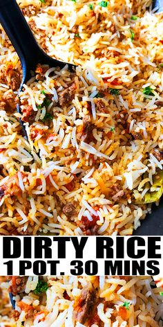 Easy Healthy Dinners, Quick Meals, Easy Dinner Recipes, Healthy Dinner Recipes, Cooking Recipes, Beef And Rice, Dirty Rice Recipe With Ground Beef, Quick Ground Beef Recipes, Arroz Frito