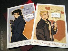 Sherlock & John Valentines Cards set of 2 by daunting on Etsy, $7.50