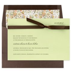 Mocha and Sage Wedding Invitation