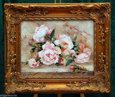 "IMPRESSIONIST ""OLD ROSES BOUQUET"" ORIGINAL PAINTING OIL BY KNIFE MUSEUM FRAME"