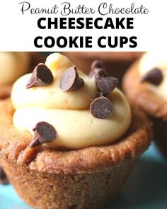 Easy to make Peanut Butter Chocolate Chip Cheesecake Cookie Cups are decadent and a delicious snack or dessert! Peanut Butter Desserts, Peanut Butter Cheesecake, Chocolate Peanut Butter, Chocolate Recipes, Nutter Butter, Chocolate Cookies, Chocolate Chip Cheesecake, Cheesecake Cookies, Cheesecake Recipes