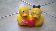 RUBBER DUCK DUCKIE LOVE 2 DUCKS IN 1 VALENTINE NOVELTY GIFT MARRIAGE BATH TOY